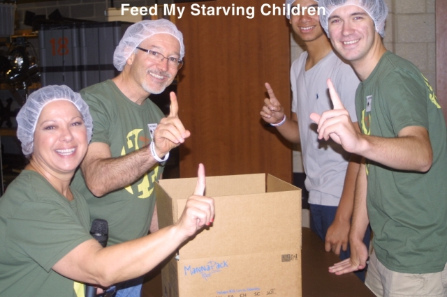 First box of 150,000 food pack meals produced